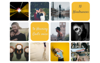 10 pictures to represent the different hinderances to hearing God