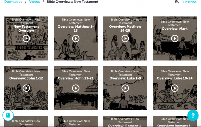 screen shot of Bible Projects Bible Overview options for New Testament